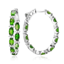 Chrome Diopside Inside Outside Diamond Earrings