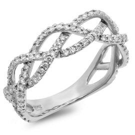 Diamond Accent Braided Ring on 14K White Gold