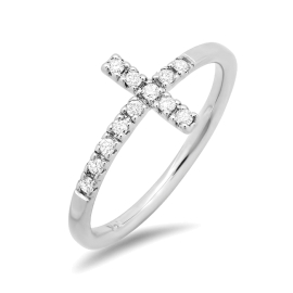 Diamond Accent Cross Ring on 14K White Gold