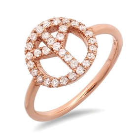 Diamond Accent Peace Ring on 14K Rose Gold