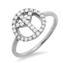 Diamond Accent Peace Ring on 14K White Gold