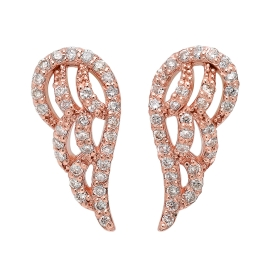 Diamond Angel Wing Earrings on 14K Rose Gold