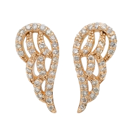 Diamond Angel Wing Earrings on 14K Yellow Gold