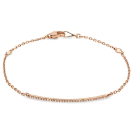 Diamond Bar Bracelet on 14K Rose Gold