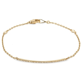 Diamond Bar Bracelet on 14K Yellow Gold