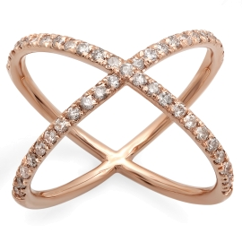 Diamond Criss Cross X Ring on 14K Rose Gold