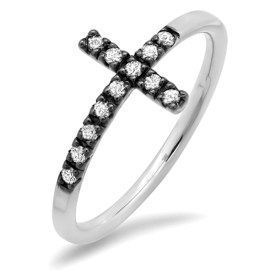 Diamond Cross Black Accent Ring on 14K White Gold