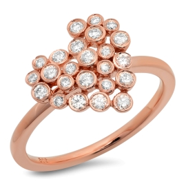 Diamond Heart Cluster Ring on 14K Rose Gold
