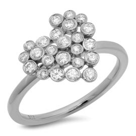 Diamond Heart Cluster Ring on 14K White Gold