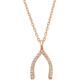 Diamond Wishbone Pendant Necklace on 14K Rose Gold
