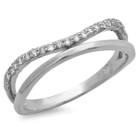 Double Band Curved Diamond Ring on 14K White Gold