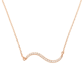 Double Curve Diamond Bar Necklace on 14K Rose Gold