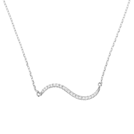 Double Curve Diamond Necklace on 14K White Gold