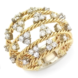 Golden Basket Ring on 14K Yellow Gold