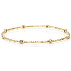 Hammered  Effect Diamond Bangle on 14K Yellow Gold