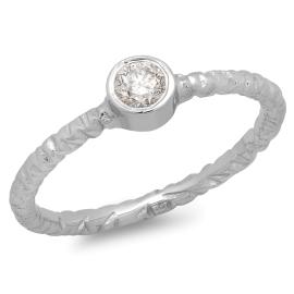 Hammered Effect Diamond Ring on 14K White Gold