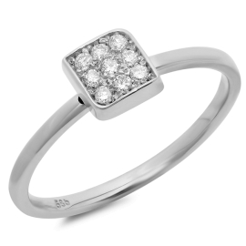 Invisible Dainty Diamond Ring on 14K White Gold