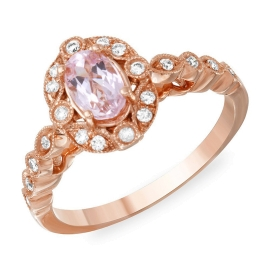Oval Kunzite & Diamond Halo Ring on 14K Rose Gold