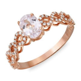 1.12 carat Kunzite Infinity Loop Diamond Ring Rose Gold