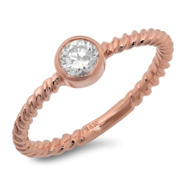 Little Diamond Cup Ring on Twisted 14K Rose Gold