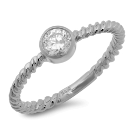 Little Diamond Cup Ring on Twisted 14K White Gold