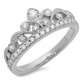 Majestic Crown Diamond Ring on 14K White Gold
