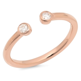 Omega Two Stone Diamond Ring on 14K Rose Gold