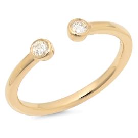 Omega Two Stone Diamond Ring on 14K Yellow Gold