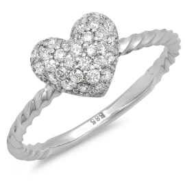 Shape of My Heart Diamond Ring on 14K White Gold