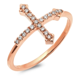 Cut-back Cross Ring on 14K Rose Gold