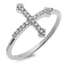 Short Cross Ring on 14K White Gold