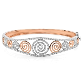 Spiral Rose Gold and Diamond Bangle