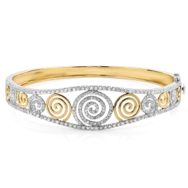 Spiral Yellow Gold and Diamond Bangle