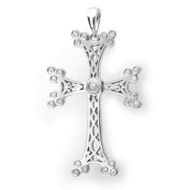 Traditional Armenian Gold Cross Diamond Necklace