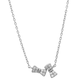 Tiny Twin Bow Diamond Necklace on 14K White Gold