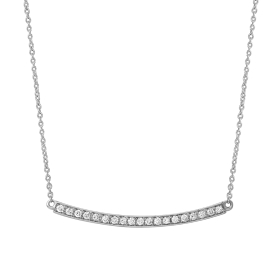 0.16 ct Curved Diamond Bar Necklace on White Gold