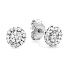0.27 ct Invisible Diamond Stud Earrings 14K Gold
