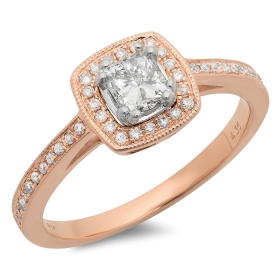 0.44 ct Princess Cut Diamond Ring on 14K Rose Gold