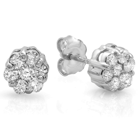0.69 ct Invisible Diamond Stud Earrings on 14K White Gold