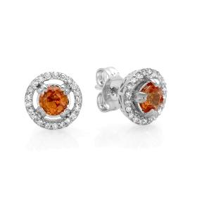 0.71 ct orange Sapphire & Diamond Earrings on White Gold