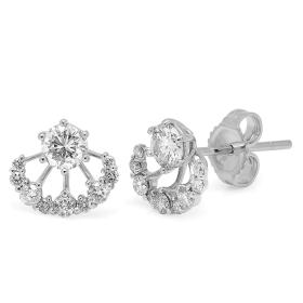 0.8 ct Diamond Stud Jacket Earrings on White Gold
