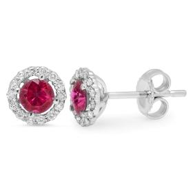 0.90 ct Ruby & Diamond Stud Earrings on 14K White Gold