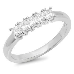 0.5 ct Five Stone Princess Diamond Ring on 14K Gold