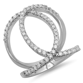 0.86 ct Multi-Curve Double Band Diamond on 14K White Gold