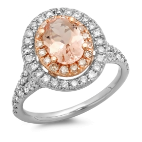 1 ct Morganite Double Halo Ring on Rose & White Gold