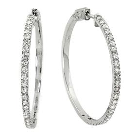 1.18 ct Diamond Hoop Earrings on 14K White Gold