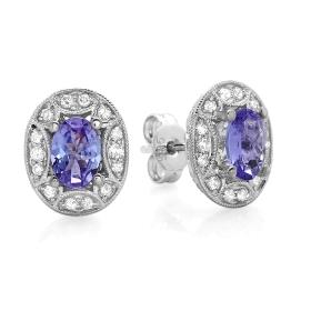 1.20 ct Tanzanite & Diamond Stud Earrings on 14K White Gold