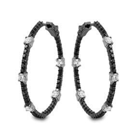 1.77 ct Black Diamond Hoop Earrings on 14K Gold