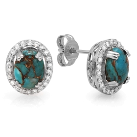 1.89 ct Copper Turquoise & Diamond Stud Earrings on 14K White Gold