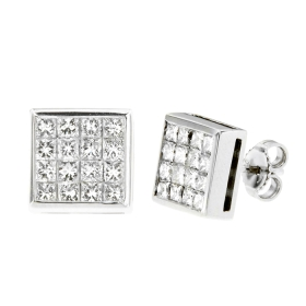 1.8 ct Invisible Princess Diamond Stud Earrings on White Gold